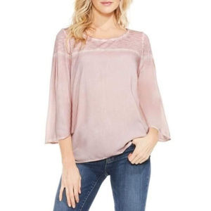 NWT Two Vince Camuto Slub Knit Cropped Sleeve Top